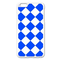 Blue White Diamonds Seamless Apple Iphone 6 Plus/6s Plus Enamel White Case by Onesevenart