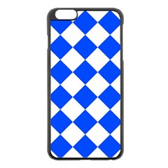 Blue White Diamonds Seamless Apple Iphone 6 Plus/6s Plus Black Enamel Case by Onesevenart