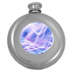 Abstract Graphic Design Background Round Hip Flask (5 Oz) by Onesevenart