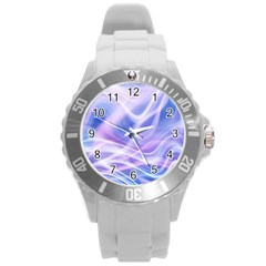Abstract Graphic Design Background Round Plastic Sport Watch (l) by Onesevenart