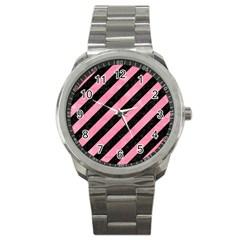 Stripes3 Black Marble & Pink Watercolor (r) Sport Metal Watch by trendistuff