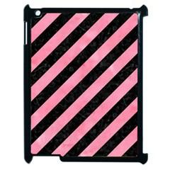 Stripes3 Black Marble & Pink Watercolor (r) Apple Ipad 2 Case (black) by trendistuff