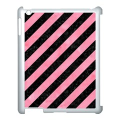 Stripes3 Black Marble & Pink Watercolor (r) Apple Ipad 3/4 Case (white) by trendistuff