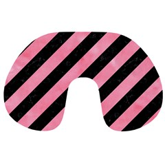 Stripes3 Black Marble & Pink Watercolor (r) Travel Neck Pillows by trendistuff