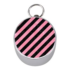 Stripes3 Black Marble & Pink Watercolor (r) Mini Silver Compasses