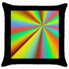 Burst Radial Shine Sunburst Sun Throw Pillow Case (black) by Onesevenart