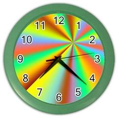 Burst Radial Shine Sunburst Sun Color Wall Clocks by Onesevenart