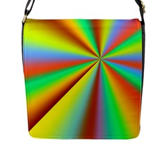 Burst Radial Shine Sunburst Sun Flap Messenger Bag (l)  by Onesevenart