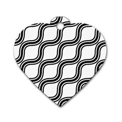Diagonal Pattern Background Black And White Dog Tag Heart (one Side) by Onesevenart