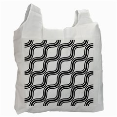 Diagonal Pattern Background Black And White Recycle Bag (one Side) by Onesevenart