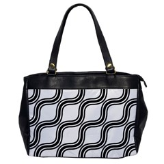 Diagonal Pattern Background Black And White Office Handbags by Onesevenart