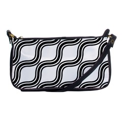 Diagonal Pattern Background Black And White Shoulder Clutch Bags by Onesevenart
