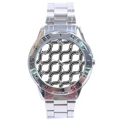 Diagonal Pattern Background Black And White Stainless Steel Analogue Watch by Onesevenart