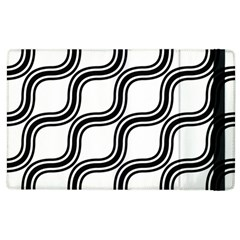Diagonal Pattern Background Black And White Apple Ipad 3/4 Flip Case by Onesevenart