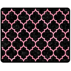 Tile1 Black Marble & Pink Watercolor (r) Fleece Blanket (medium)  by trendistuff