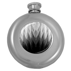 Feather Graphic Design Background Round Hip Flask (5 Oz) by Onesevenart