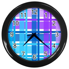 Gingham Pattern Blue Purple Shades Wall Clocks (black) by Onesevenart