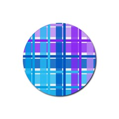 Gingham Pattern Blue Purple Shades Rubber Coaster (round)  by Onesevenart