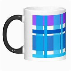 Gingham Pattern Blue Purple Shades Morph Mugs by Onesevenart