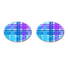 Gingham Pattern Blue Purple Shades Cufflinks (oval) by Onesevenart