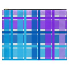 Gingham Pattern Blue Purple Shades Cosmetic Bag (xxxl)  by Onesevenart