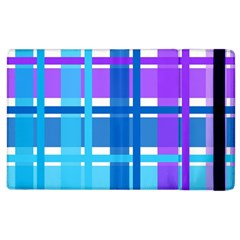 Gingham Pattern Blue Purple Shades Apple Ipad 3/4 Flip Case by Onesevenart