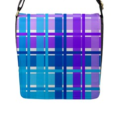 Gingham Pattern Blue Purple Shades Flap Messenger Bag (l)  by Onesevenart