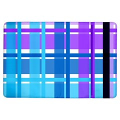 Gingham Pattern Blue Purple Shades Ipad Air Flip by Onesevenart