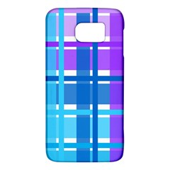 Gingham Pattern Blue Purple Shades Galaxy S6 by Onesevenart