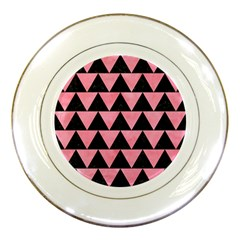 Triangle2 Black Marble & Pink Watercolor Porcelain Plates by trendistuff