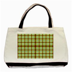 Geometric Tartan Pattern Square Basic Tote Bag by Onesevenart