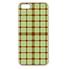Geometric Tartan Pattern Square Apple Seamless Iphone 5 Case (clear) by Onesevenart