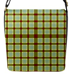 Geometric Tartan Pattern Square Flap Messenger Bag (s) by Onesevenart