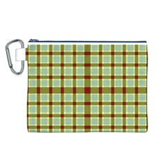 Geometric Tartan Pattern Square Canvas Cosmetic Bag (l) by Onesevenart