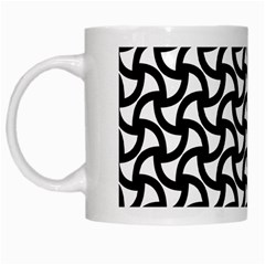 Grid Pattern Background Geometric White Mugs by Onesevenart