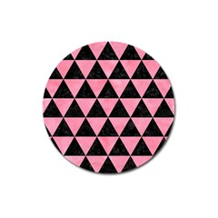 Triangle3 Black Marble & Pink Watercolor Magnet 3  (round) by trendistuff