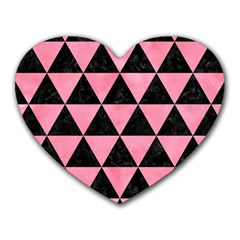 Triangle3 Black Marble & Pink Watercolor Heart Mousepads by trendistuff