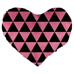 Triangle3 Black Marble & Pink Watercolor Large 19  Premium Flano Heart Shape Cushions by trendistuff