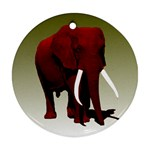 Red Elephant Big Tusks Ornament (Round)