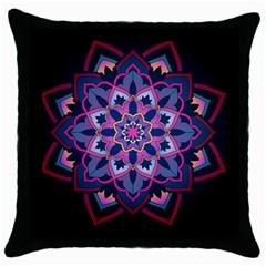 Mandala Circular Pattern Throw Pillow Case (black) by Onesevenart