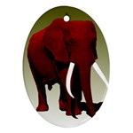 Red Elephant Big Tusks Ornament (Oval)