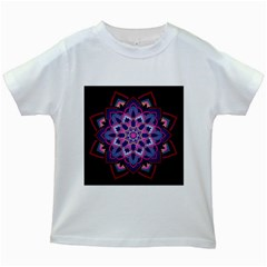 Mandala Circular Pattern Kids White T Shirts by Onesevenart