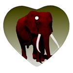 Red Elephant Big Tusks Ornament (Heart)