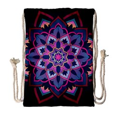 Mandala Circular Pattern Drawstring Bag (large) by Onesevenart