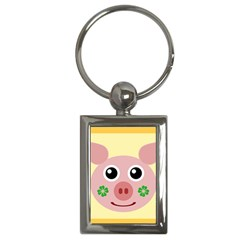 Luck Lucky Pig Pig Lucky Charm Key Chains (rectangle)  by Onesevenart