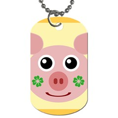 Luck Lucky Pig Pig Lucky Charm Dog Tag (one Side) by Onesevenart