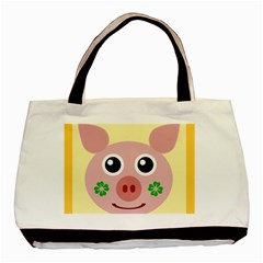 Luck Lucky Pig Pig Lucky Charm Basic Tote Bag by Onesevenart