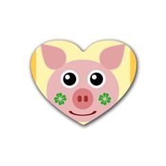 Luck Lucky Pig Pig Lucky Charm Rubber Coaster (heart)  by Onesevenart