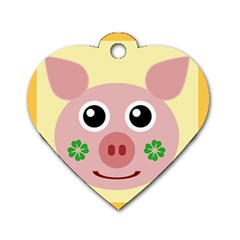Luck Lucky Pig Pig Lucky Charm Dog Tag Heart (two Sides) by Onesevenart
