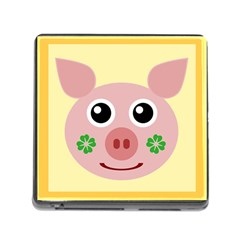 Luck Lucky Pig Pig Lucky Charm Memory Card Reader (square) by Onesevenart